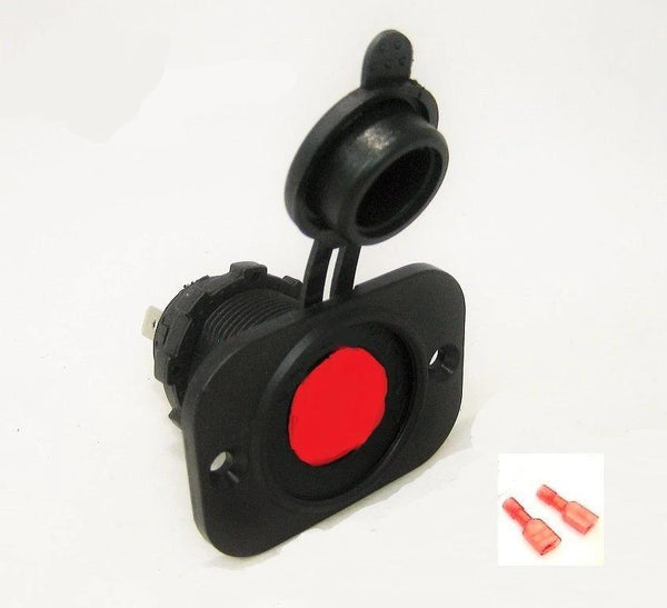 Accessory Lighter Socket 12V Marine w Red LED & Boot Illuminated Plug Outlet - 12-vtechnology