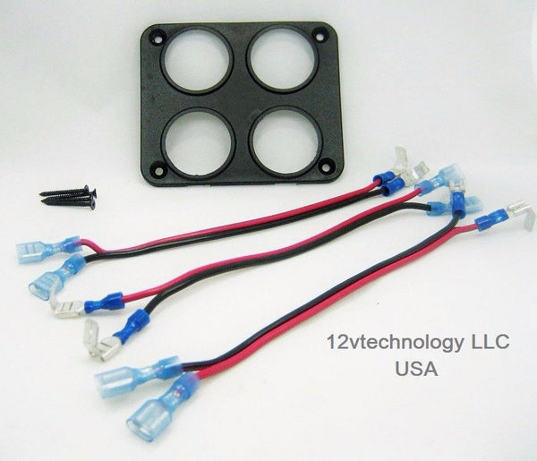 Quad Socket USB 12V Power Plug Panel Mounting Plate w/ Daisy Jumpers - 12-vtechnology