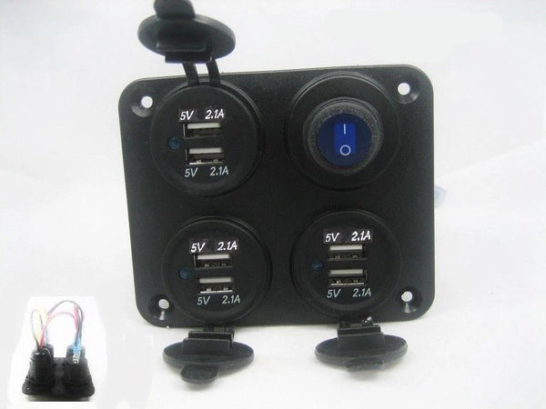 Waterproof Panel 12.6 Amp USB Charger Outlet Socket Power LED Switch Wired 12V - 12-vtechnology