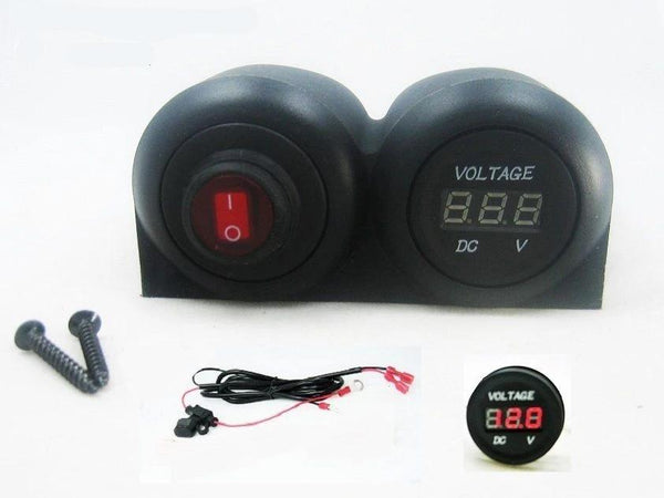 12V Battery Bank Voltmeter Monitor RV Marine House Starting Wired + Switch Red - 12-vtechnology