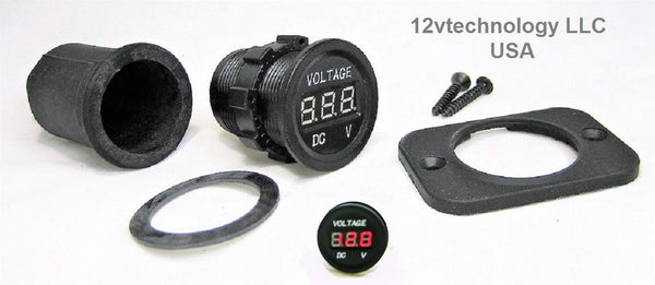 Waterproof 12 Volt Red Voltmeter W/boot Digital, Chargers Motorcycle Trucks RV Sea - 12-vtechnology