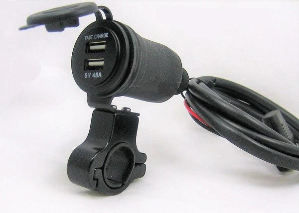 "Narrow Thin Motorcycle Mount Fast USB Charge 4.8 Amps Handlebar 3/4 - 1"" Harness - 12-vtechnology"