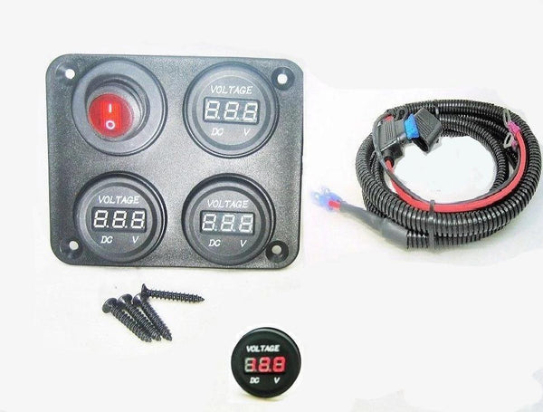 "Three battery or Bank Voltmeter Display Test Monitor w/ XLong 72"" Fused Cables - 12-vtechnology"