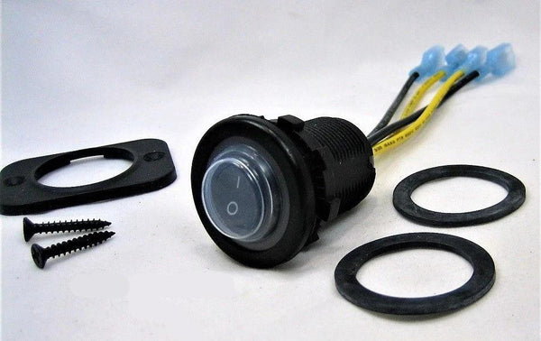 Double sealed Waterproof Rocker 12V Toggle Switch DPST Marine Socket Round IP66 - 12-vtechnology