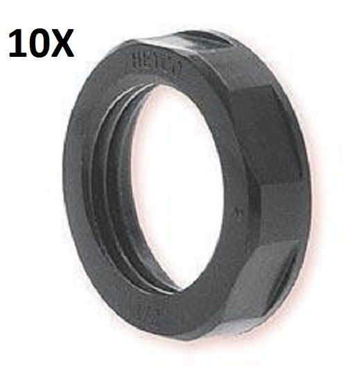 "10X Pipe Thread 1/2"" NPT BLACK NYLON LOCKNUT Heyco 8463  LIQUID TIGHT - 12-vtechnology"