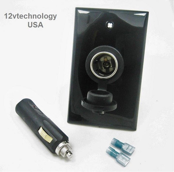High Current 20A 12 Volt Caravan RV Lab Lighter Power Socket  And Plug + Wall Mount - 12-vtechnology