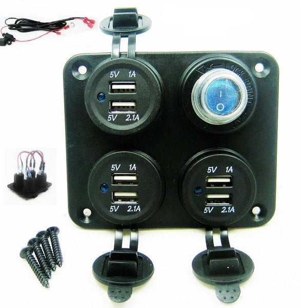 Wired USB Charging Station Wall 9.3 Amp Charging Power On/off Power Switch 12V - 12-vtechnology