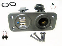 Blue Dual 3.1A USB Charger and Socket Panel Mount Marine 12V Power Outlet w Fuse - 12-vtechnology