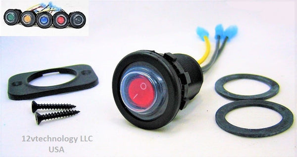 Double Sealed Waterproof Red LED Rocker 12 Volt Toggle Switch SPST Marine Round IP66 - 12-vtechnology