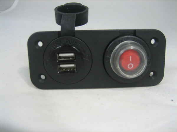 Waterproof Dual USB Charger and  Lighted Switch Marine 12 Volt Panel Dashboard - 12-vtechnology