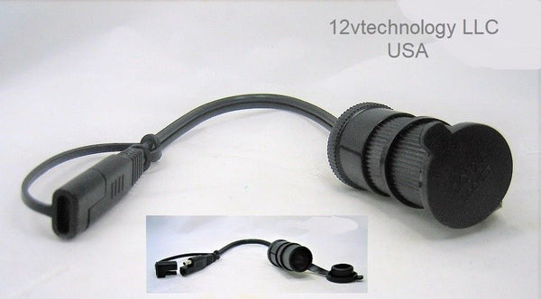 "SAE 18"" Connector Adapter 12V Lighter Truck 16 AWG Power Trailer Plug Cable"