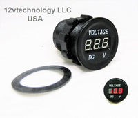 New Industrial Large Body 12 /24 DC Round Red Voltmeter Battery Monitor Marine - 12-vtechnology