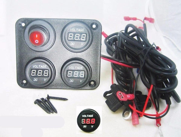 Triple 12 Volt Battery Bank Voltmeter Monitor Marine House Starting Wired w/ Switch - 12-vtechnology