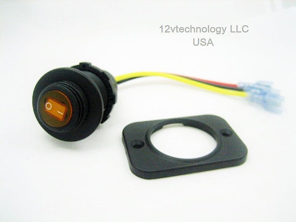 Waterproof LED Round Rocker Toggle Switch On/Off 12V Socket Dash Mount Yellow #swy1