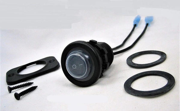 Double Sealed Waterproof Rocker 12V Toggle Switch SPST Black Socket Round IP66 - 12-vtechnology
