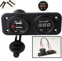 WIRED MOTORCYCLE BOAT RV WATERPROOF RED DUAL USB SOCKET CHARGER AND VOLTMETER - 12-vtechnology