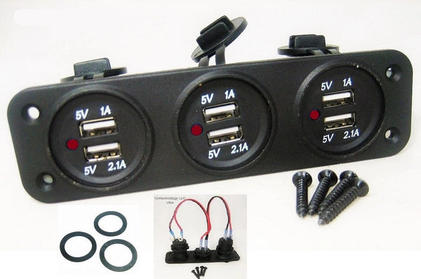 Red LED USB 9.3 Amp Output Charging Station Panel Plug Mount Marine 12V Outlet - 12-vtechnology