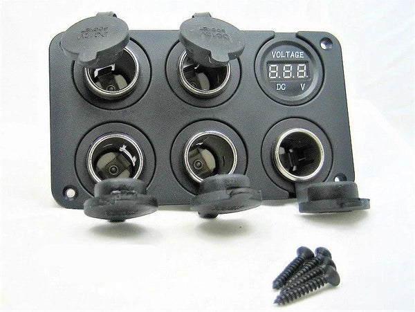 Five Heavy Duty 20A 12V  High Power Voltmeter Socket Plug Outlet Panel RV Fuse - 12-vtechnology