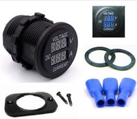 Waterproof 12 Volt Blue Round LED Digital Volt Amp Meter Ammeter Current Voltmeter - 12-vtechnology