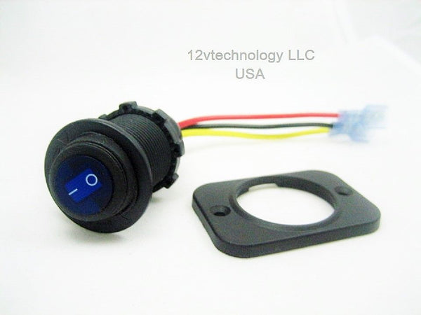 Waterproof Rocker Toggle Switch SPST Socket 12 Volt Marine Blue LED Panel Dashboard - 12-vtechnology