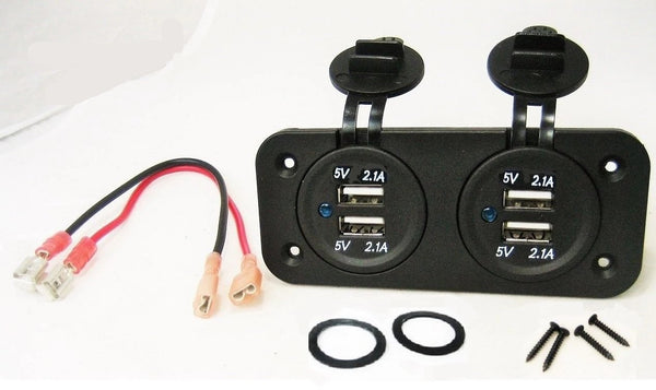Double USB 4.2 Amp Chargers Panel Plug Jack Mount Marine 12V Outlet With Wires. - 12-vtechnology