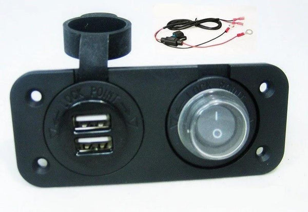 waterproof dual usb charger socket + switch +wires 12 v outlet power marine  boat -