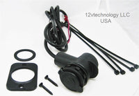 "Tight Fit Mount Motorcycle Marine 12 Volt Accessory Plug Socket 36"" Harness Outlet - 12-vtechnology"
