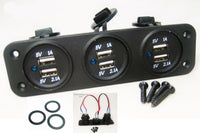 Triple USB 9.3 Amp Chargers Panel Plug Jack Mount Marine 12 V Motorcycle Outlet - 12-vtechnology