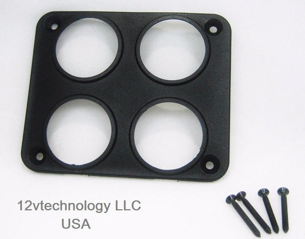 Quad Socket USB 12 Volt Power Plug Outlet Surface Panel Mounting Plate Only - 12-vtechnology