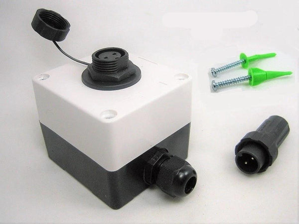 Waterproof Junction Box Case & Two 2 Pin Wire Connector Marine 12V Plug Socket - 12-vtechnology