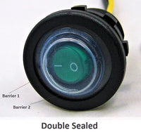 Double Seal Waterproof Green LED Rocker 12V Toggle Switch SPST Boat Round IP66 - 12-vtechnology