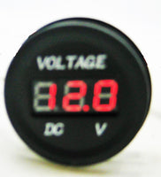 INDUSTRIAL THICK BODY RED 12-24V MOTORCYCLE LED DIGITAL VOLTMETER ROUND PANEL - 12-vtechnology