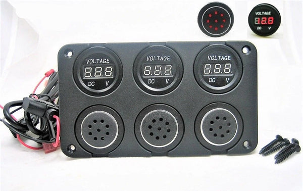 Three 12 Volt Battery Bank Voltmeter Monitor Measures Low Charge State & Alarms - 12-vtechnology