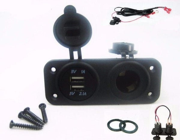 New Dual USB Charger and Socket Panel Mount Marine 12 Volt Power Outlet w/ Wires - 12-vtechnology