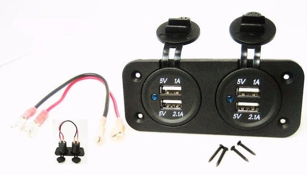 Double Dual USB 3.1 Amp Charger Panel Mount Jack Marine 12V Outlet With Wires - 12-vtechnology