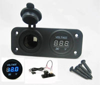 Wired Solar Battery Plug Socket + Blue Voltmeter Panel Status Monitor Marine 12V - 12-vtechnology