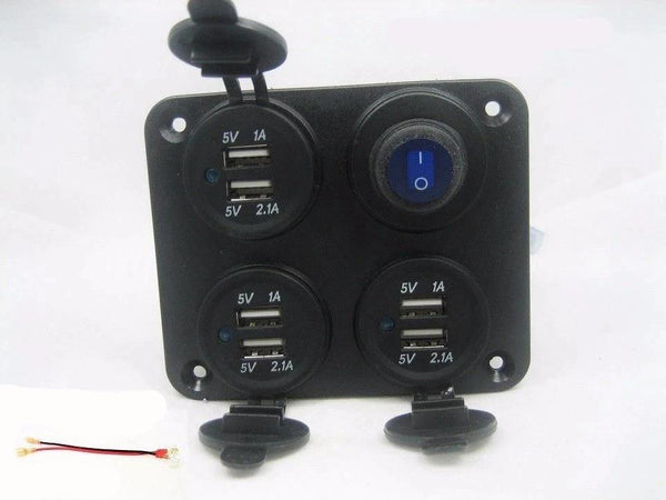 Waterproof Panel 9 2 Amp Usb Charger Outlet Socket Power Switch W Led Wired 12v