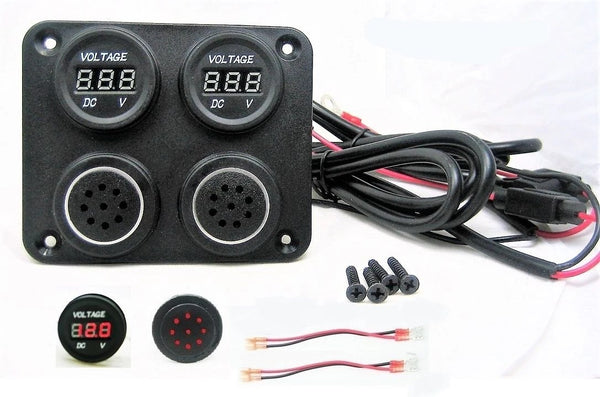 Two 12 Volt Battery Bank Voltmeter Monitor Measures Low Charge State & Alarms Marine