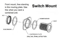 Momentary SPDT Double Sealed Highly Waterproof Rocker Toggle Switch 12 Volt Round # swblkM2B