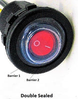 Double Sealed Waterproof Red LED Rocker 12V Toggle Switch SPST Marine Round IP66 - 12-vtechnology