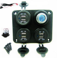 Fast Install Waterproof 9.3 Amp Dual USB Charging Station Switched W/ Wired 12V - 12-vtechnology