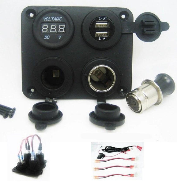 Highest Power 4.2A USB Charger + Voltmeter +12V Socket & Lighter Plug w Wires - 12-vtechnology
