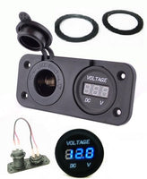 New Waterproof Socket Power Outlet Panel Mount Marine 12V  /24V  Blue Voltmeter - 12-vtechnology