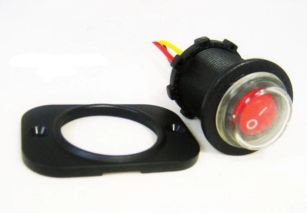 Sealed Waterproof LED Rocker Toggle Switch SPST Marine 12V Panel Mount Round Red - 12-vtechnology