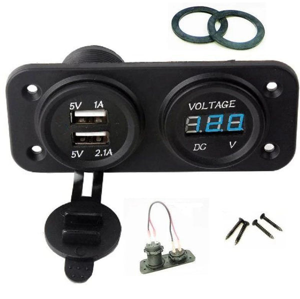 MARINE BOAT RV WATERPROOF DUAL USB SOCKET CHARGER AND BLUE VOLTMETER PANEL - 12-vtechnology
