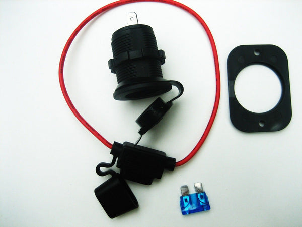 Cigarette Lighter Socket Power Outlet 12 Volt  Marine Motorcycle + Fuse Holder - 12-vtechnology