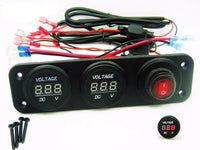 Two 12V Battery Bank Voltmeter Monitor RV Marine House Starting Wired + Switch