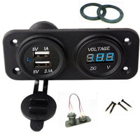 New USB 3.1 Amp Charger and Voltmeter Panel Mount Marine 12 V Motorcycle Outlet - 12-vtechnology