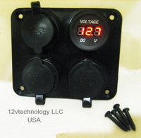 Triple Heavy Duty 20A 12V Plug High Power Voltmeter Socket Plug Outlet Panel RV - 12-vtechnology