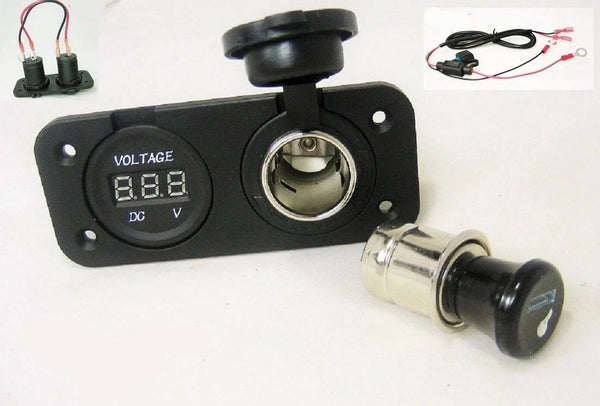 "Wired Accessory + Lighter Plug Socket Power Outlet Boat 12 Volt Voltmeter 60"" Wires - 12-vtechnology"